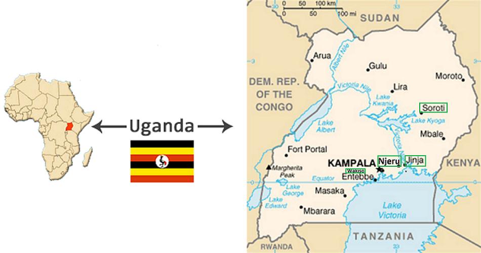 Afrika Uganda kaartje met groene omranding